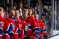 KELOWNA, CANADA - MARCH 13:  Noah King #4 of the Spokane Chiefs stands on the bench during the national anthem against the Kelowna Rockets on March 13, 2019 at Prospera Place in Kelowna, British Columbia, Canada.  (Photo by Marissa Baecker/Shoot the Breeze)
