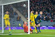Steven Naismith (#9) of Scotland scores a goal during the UEFA European 2020 Group I qualifier match between Scotland and Kazakhstan at Hampden Park, Glasgow, United Kingdom on 19 November 2019.