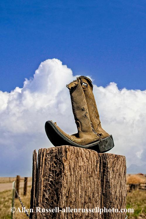 Remnant of past, coboy boot, Vanada, Montana