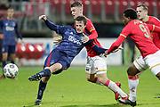 (L-R) Leon Bergsma of Ajax U23, Jamie Jacobs of AZ Alkmaar U23
