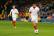 Sevilla midfielder Vitolo (20) and Sevilla defender Sergio Escudero (18) during the Champions League round of 16, game 2 match between Leicester City and Sevilla at the King Power Stadium, Leicester, England on 14 March 2017. Photo by Richard Holmes.