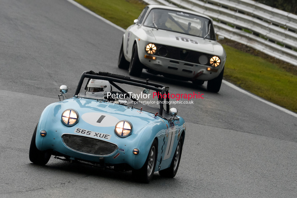 #1 Tim Cairns Austin Healey Frogeye Sprite 1380 during the CSCC Adams and Page Swinging Sixties at Oulton Park, Little Budworth, Cheshire, United Kingdom. October 15 2016. World Copyright Peter Taylor/PSP. <br /> Copy of publication required for printed pictures.  Every used picture is fee-liable. http://archive.petertaylor-photographic.co.uk