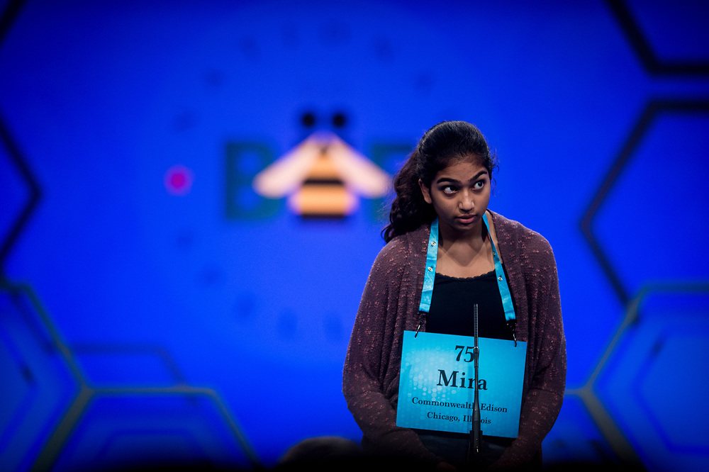 Mira Dedhia, 13, from Western Springs, Ill., participates in the finals of the 2017 Scripps National Spelling Bee on Thursday, June 1, 2017 at the Gaylord National Resort and Convention Center at National Harbor in Oxon Hill, Md.      Photo by Pete Marovich/UPI
