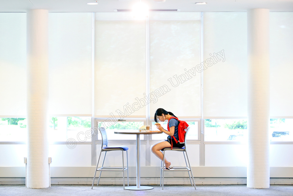Studying at breakfast time in the Bovee University Center. Central Michigan University Photo by Steve Jessmore