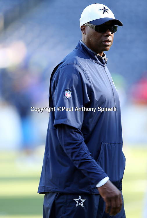 Dallas Cowboys defensive tackles coach Leon Lett looks on before the 2015 NFL preseason football game against the San Diego Chargers on Thursday, Aug. 13, 2015 in San Diego. The Chargers won the game 17-7. (©Paul Anthony Spinelli)
