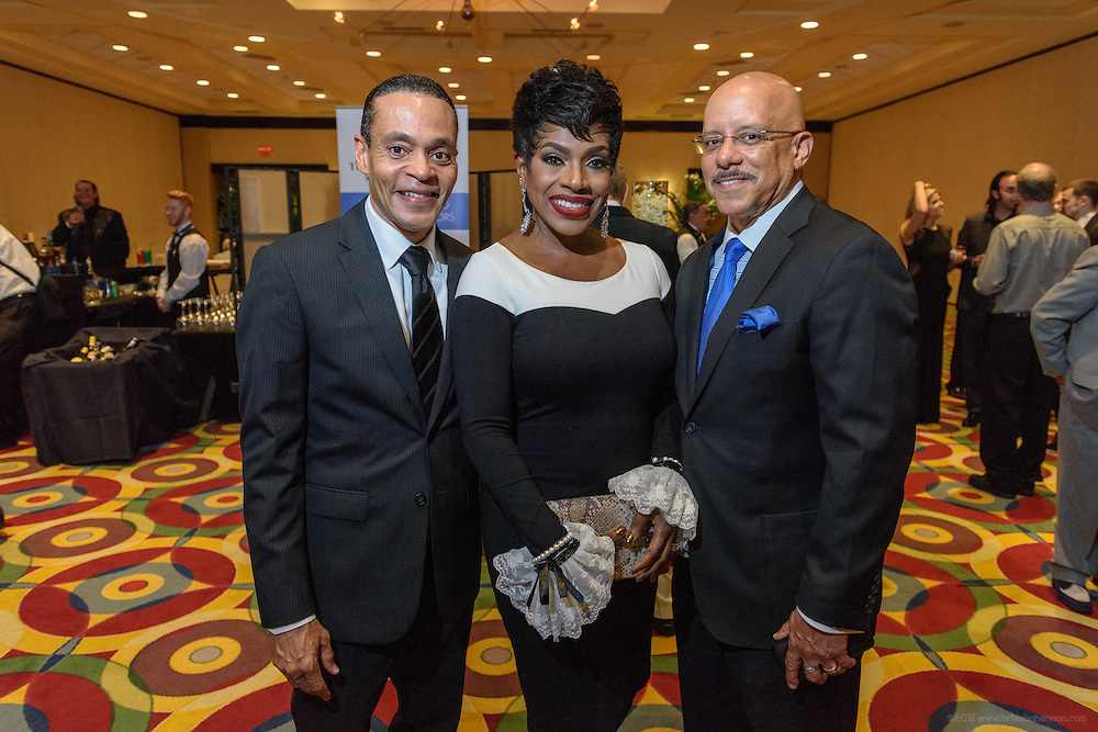 Donald Lassere, President and CEO, Muhammad Ali Center, Sheryl Lee Ralph, recipient of the Muhammad Ali Humanitarian Award for Global Citizenship, and her husband, Pennsylvania State Senator Vincent Hughes, are seen at the VIP and sponsor reception before walking the red carpet at the fourth annual Muhammad Ali Humanitarian Awards Saturday, Sept. 17, 2016 at the Marriott Hotel in Louisville, Ky. (Photo by Brian Bohannon for the Muhammad Ali Center)