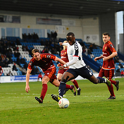 TELFORD COPYRIGHT MIKE SHERIDAN 5/1/2019 - Dan Udoh of AFC Telford shoots during the Vanarama Conference North fixture between AFC Telford United and Spennymoor Town.