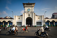A front view of Ben Thanh market, one of the city's main markets, in downtown Ho Chi Minh City, Vietnam.