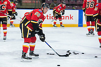 PENTICTON, CANADA - SEPTEMBER 17: Dillon Dube #59 of Calgary Flames warms up against the Edmonton Oilers on September 17, 2016 at the South Okanagan Event Centre in Penticton, British Columbia, Canada.  (Photo by Marissa Baecker/Shoot the Breeze)  *** Local Caption *** Dillon Dube;