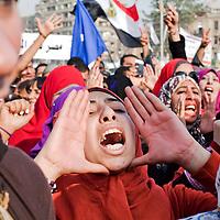 Anti-Mursi protesters chant anti-government slogans in Tahrir Square in Cairo, Egypt. November 2012.