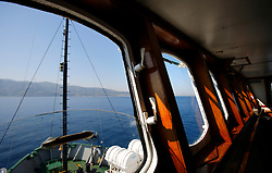ITALY SICILY 30APR08 - View of the Strait of Messina from aboard the Greenpeace ship Arctic Sunrise in the Mediterranean...jre/Photo by Jiri Rezac..© Jiri Rezac 2008..Contact: +44 (0) 7050 110 417.Mobile:  +44 (0) 7801 337 683.Office:  +44 (0) 20 8968 9635..Email:   jiri@jirirezac.com.Web:    www.jirirezac.com..© All images Jiri Rezac 2007 - All rights reserved.