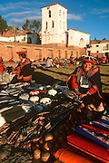 PERU, HIGHLANDS, MARKETS Chincheros, famous Quechua craft market