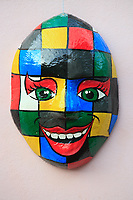 mask on the wall of olinda near recife pernambuco state brazil
