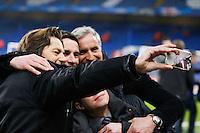 Selfie Daniel BRAVO / Remi GARDE / David GINOLA / Gregoire MARGOTTON - 11.03.2015 - Chelsea / Paris Saint Germain - 1/8Finale Champions League<br />Photo : Johnny Fidelin / Icon Sport