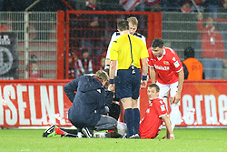 30.01.2016, Stadion An der Alten Foersterei, Berlin, GER, 1. FC Union Berlin vs SV Austria Salzburg, Testspiel, im Bild Felix Kros (#23, 1. FC Union Berlin) muss kurz vor der Halbzeitpause behandelt werden, // during a preperation Football Match between 1. FC Union Berlin vs SV Austria Salzburg at the Stadion An der Alten Foersterei in Berlin, Germany on 2016/01/30. EXPA Pictures © 2016, PhotoCredit: EXPA/ Eibner-Pressefoto/ Hundt<br /> <br /> *****ATTENTION - OUT of GER*****