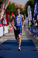 Peter Court (AUS). Subaru Olympic Distance Triathlon. 2012 Geelong Multi Sport Festival. Eastern Beach, Geelong, Victoria, Australia. 12/02/2012. Photo By Lucas Wroe