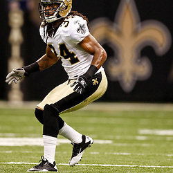 August 21, 2010; New Orleans, LA, USA; New Orleans Saints cornerback Patrick Robinson (34) in coverage during the second half of a 38-20 win by the New Orleans Saints over the Houston Texans during a preseason game at the Louisiana Superdome. Mandatory Credit: Derick E. Hingle