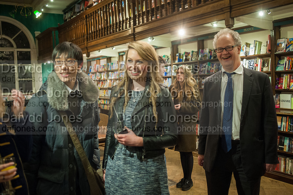 HENRY TANG; HARRIET EGLETON; EDWARD FITZGERALD,  William Fitzgerald, Book launch ,  'How to read a Latin poem - if you can't read Latin yet' published by OUP.- Daunts bookshop Marylebone, London 21 February 2013.