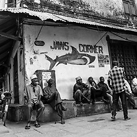 Shooting from the hip at Jaws Corner, a prominent gathering spot in Old Stone Town, Zanzibar, 2012