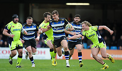 Ollie Devoto of Bath Rugby makes a break.  - Mandatory by-line: Alex Davidson/JMP - 23/04/2016 - RUGBY - Recreation Ground - Bath, England - Bath Rugby v Sale Sharks - Aviva Premiership