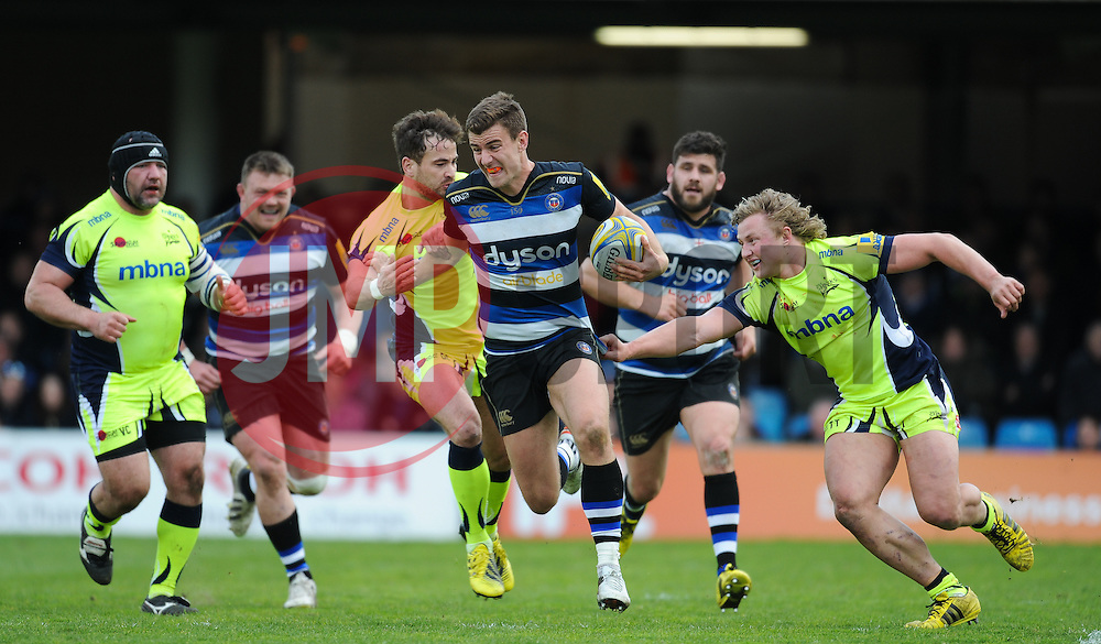 Ollie Devoto of Bath Rugby makes a break.  - Mandatory by-line: Alex Davidson/JMP - 23/04/2016 - RUGBY - Recreation Ground - Bath, England - Bath Rugby v Sale Sharks - Aviva Premiership