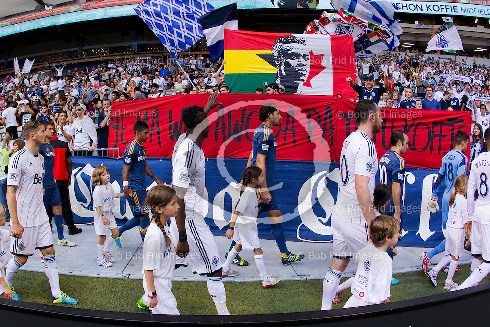 24 August 2013:   Action during a game between Vancouver Whitecaps FC and Los Angeles Galaxy on Bell Pitch at BC Place Stadium in Vancouver, BC, Canada. Final Score: Vancouver  - Los Angeles   ****(Photo by Bob Frid - Vancouver Whitecaps 2013 - All Rights Reserved)***