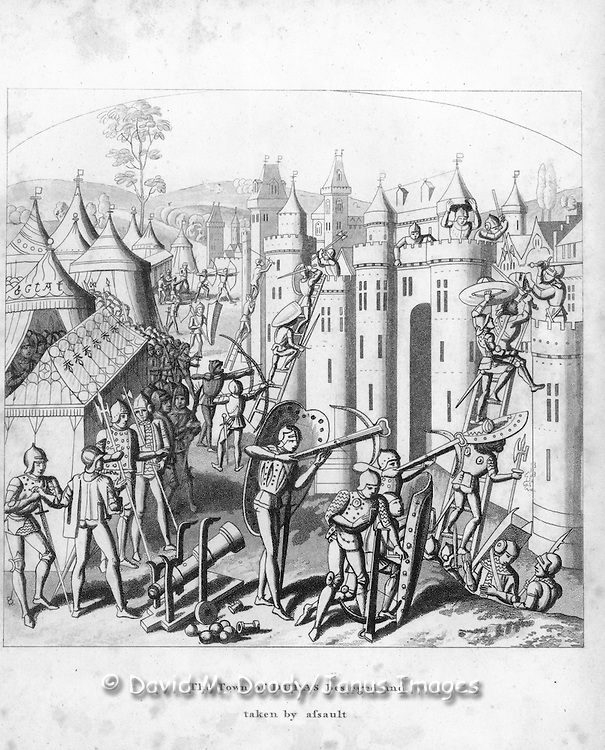 "woodcut ""The Town of Duras besieged and taken by assault"".military, fort, castle, battle, assault, armour, weapons, vintage illustration.From  ""Chronicles of England"" 1806 by Froissart.  English History 1326-1400"