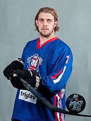 Anze Kopitar at photo shooting with Slovenian HZS hockey jersey during Anze Kopitar Press Conference before going back to Los Angeles for the start of NHL League, on August 31, 2011, in Dvorana Podmezaklja, Jesenice, Slovenia. (Photo by Matic Klansek Velej / Sportida)