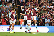 Aston Villa striker Wesley (9) cel` with Aston Villa midfielder Douglas Luiz (6) 1-0 during the Premier League match between Aston Villa and Everton at Villa Park, Birmingham, England on 23 August 2019.