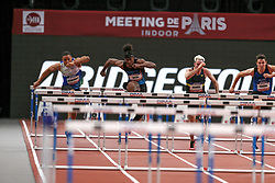 February 7, 2018 - Paris, Ile-de-France, France - From left to right : Loic Desbonnes of France, Jarret Eaton of USA, Simon Krauss of France, Jonathan Cabral of Canada compete in 60m Hurdles during the Athletics Indoor Meeting of Paris 2018, at AccorHotels Arena (Bercy) in Paris, France on February 7, 2018. (Credit Image: © Michel Stoupak/NurPhoto via ZUMA Press)