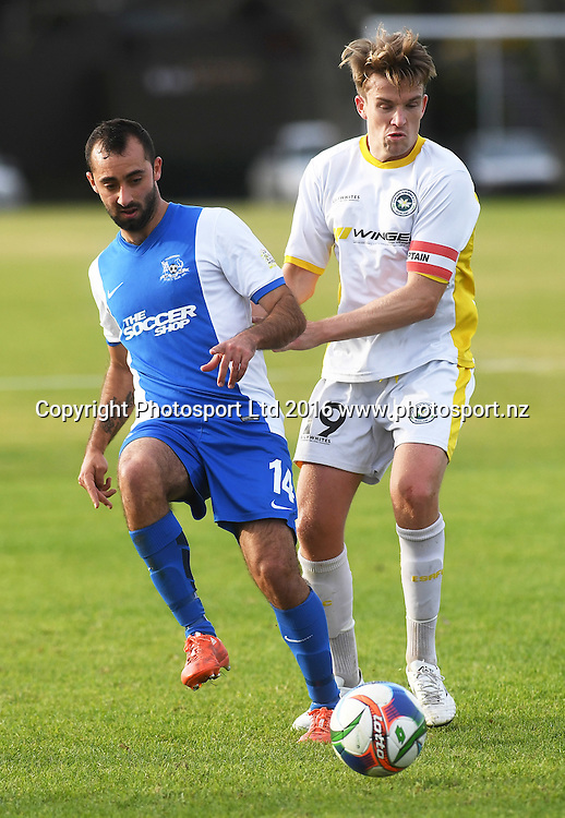 Wanderers player Frederico Marquez and Suburbs's Damien Mosquera. Chatham Cup Football, Round 2. Eastern Suburbs v Hamilton Wanderers, Madills Farm, Auckland, New Zealand. Monday 6 June 2016©Copyright photo: Andrew Cornaga/www.photosport.nz
