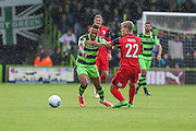 Forest Green Rovers Keanu Marsh-Brown(7) and Barrows Ryan Yates(22) during the Vanarama National League match between Forest Green Rovers and Barrow at the New Lawn, Forest Green, United Kingdom on 1 October 2016. Photo by Shane Healey.