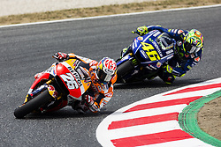 June 9, 2017 - Barcelona, Catalonia, Spain - 26 Dani Pedrosa from Spain of Repsol Honda Team (Honda) and 46 Valentino Rossi from Italy of Movistar Yamaha Moto GP (Yamaha) during the Monter Energy Catalonia Grand Prix, at the Circuit de Barcelona-Catalunya on June 9 of 2017. (Credit Image: © Xavier Bonilla/NurPhoto via ZUMA Press)