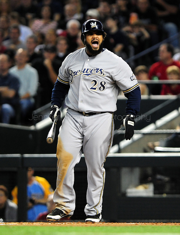 Oct. 5 2011; Phoenix, AZ, USA; Milwaukee Brewers infielder Prince Fielder (28) reacts while at bat  against the Arizona Diamondbacks at game four of the 2011 NLDS at Chase Field.  Mandatory Credit: Jennifer Stewart-US PRESSWIRE..