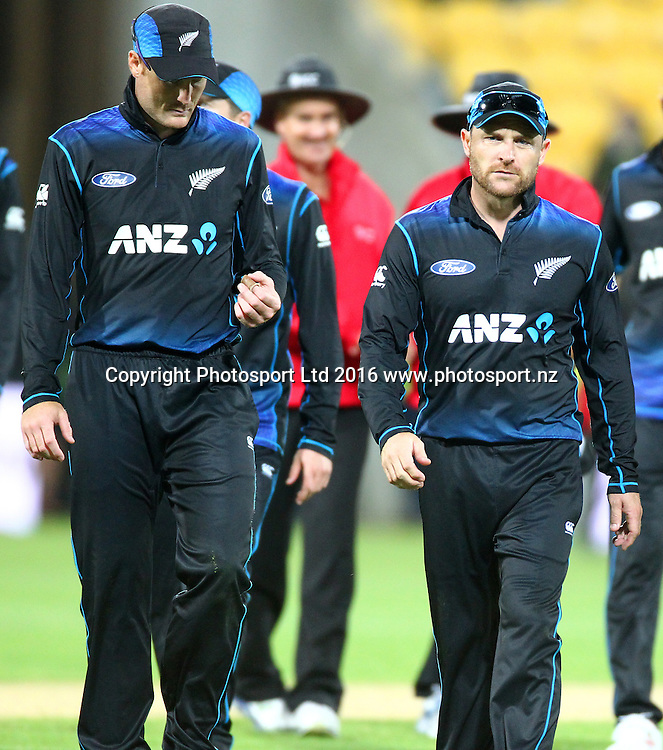 A disappointed Martin Guptill & Brendon McCullum leave the pitch. New Zealand Black Caps v Australia, 2nd match of the Chappell-Hadlee ODI Cricket Series. Westpac Stadium, Wellington, New Zealand. Saturday 6th February 2016. Copyright Photo.: Grant Down / www.photosport.nz