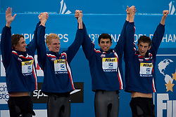 Winning team of USA (Ryan Lochte, David Walters,  Ricky Berens, Michael Phelps) at the victory ceremony after they competed in the  Men's 4x 200m Freestyle Final  during the 13th FINA World Championships Roma 2009, on July 31, 2009, at the Stadio del Nuoto,  in Foro Italico, Rome, Italy. (Photo by Vid Ponikvar / Sportida)