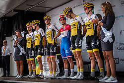 Team Lotto NL-Jumbo (NED) at the presentation podium during the Arnhem Veenendaal Classic at Arnhem, Gelderland, The Netherlands, 19 August 2016.<br /> Photo by Pim Nijland / PelotonPhotos.com | All Rights Reserved