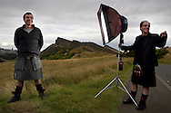 London stockbroker and Scot Roger Kennedy wearing a kilt from 21st Century Kilts, in Edinburgh's Holyrood Park, Scotland, UK.
