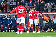 Swindon Town players celebrate their goal (1-0) scored by Rob Hunt of Swindon Town during the EFL Sky Bet League 2 match between Swindon Town and Crewe Alexandra at the County Ground, Swindon, England on 11 January 2020.