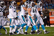 The Carolina Panthers offense breaks from the huddle during the NFL week 10 regular season football game against the Pittsburgh Steelers on Thursday, Nov. 8, 2018 in Pittsburgh. The Steelers won the game 52-21. (©Paul Anthony Spinelli)