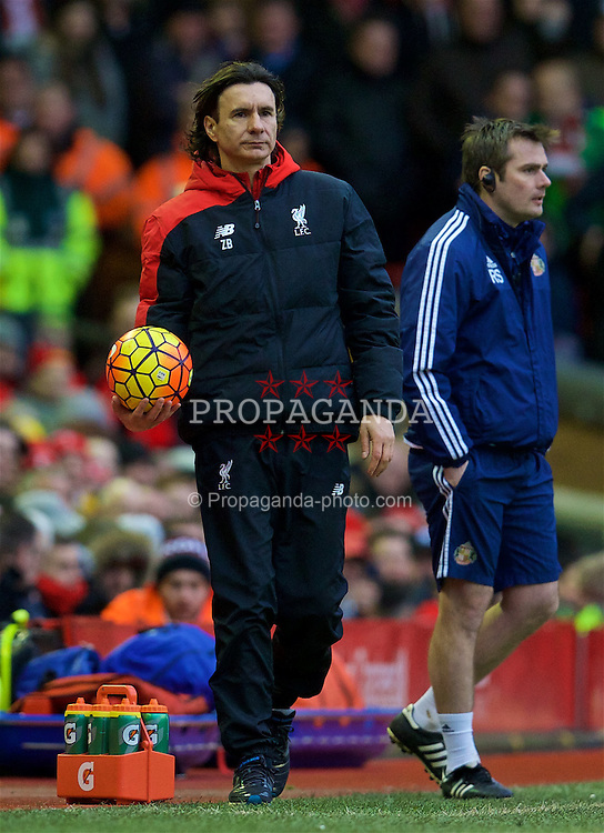 LIVERPOOL, ENGLAND - Saturday, February 6, 2016: Liverpool's assistant manager Zeljko Buvac, standing in for the ill Jürgen Klopp, during the Premier League match against Sunderland at Anfield. (Pic by David Rawcliffe/Propaganda)
