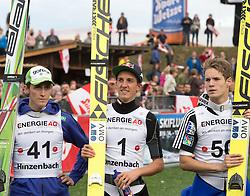 27.09.2015, Energie AG Skisprung Arena, Hinzenbach, AUT, FIS Ski Sprung, Sommer Grand Prix, Hinzenbach, im Bild das Siegerpodest Peter Prevc (SLO, 2. Platz), Gregor Schlierenzauer (AUT, 1. Platz) // during FIS Ski Jumping Summer Grand Prix at the Energie AG Skisprung Arena, Hinzenbach, Austria on 2015/09/27. EXPA Pictures © 2015, PhotoCredit: EXPA/ Reinhard Eisenbauer