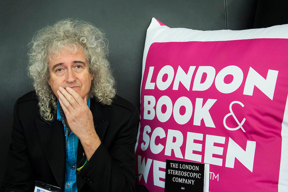 Brian May talks about  images from The London Stereoscopic Company which produces  books in full 3-D. The images were shown on screen and viewed with special glasses. London Book Fair, Olympia, London, UK, 14 Apr 2015.