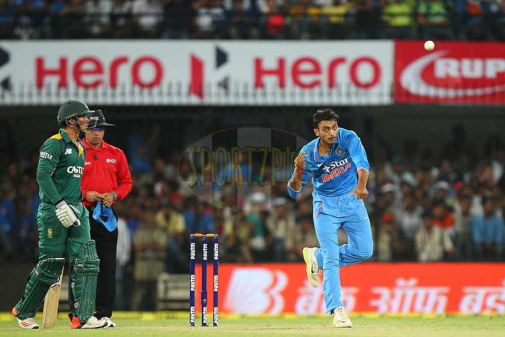 Axar Patel of India  during the 2nd Paytm Freedom Trophy Series One Day International ( ODI ) match between India and South Africa held at the Holkar Stadium in Indore, India on the 14th October 2015<br /> <br /> Photo by Ron Gaunt/ BCCI/ Sportzpics