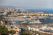 Spain, Barcelona. Port Vell as seen from nearby Montjüic.