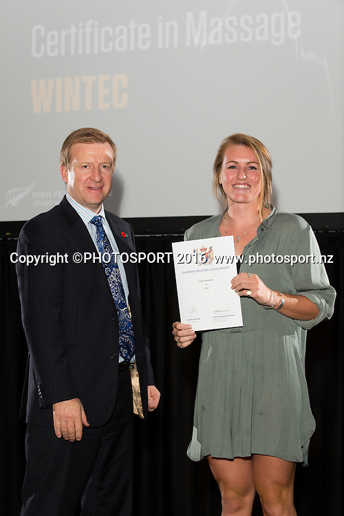Hon. Jonathan Coleman presents certificate to Rowing Holly Greenslade at the High Performance Sport NZ Waikato ceremony for the Prime Minister's Scholarship Awards, at Sir Don Rowlands Centre, Lake Karapiro, Cambridge, New Zealand, 20 April 2016. Copyright Photo: Stephen Barker / www.photosport.nz
