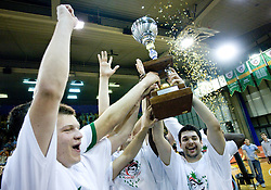 Jaka Klobucar, Saso Ozbolt of Union Olimpija celebrate at third finals basketball match of Slovenian Men UPC League between KK Union Olimpija and KK Helios Domzale, on June 2, 2009, in Arena Tivoli, Ljubljana, Slovenia. Union Olimpija won 69:58 and became Slovenian National Champion for the season 2008/2009. (Photo by Vid Ponikvar / Sportida)
