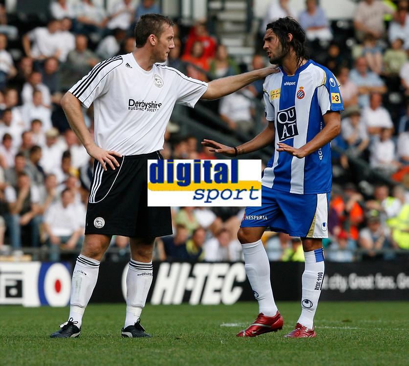 Photo: Steve Bond.<br />Derby County v RCD Espanyol. Pre Season Friendly. 04/08/2007. Steve Howard (L) has a friendly exchange with Francisco Rufete