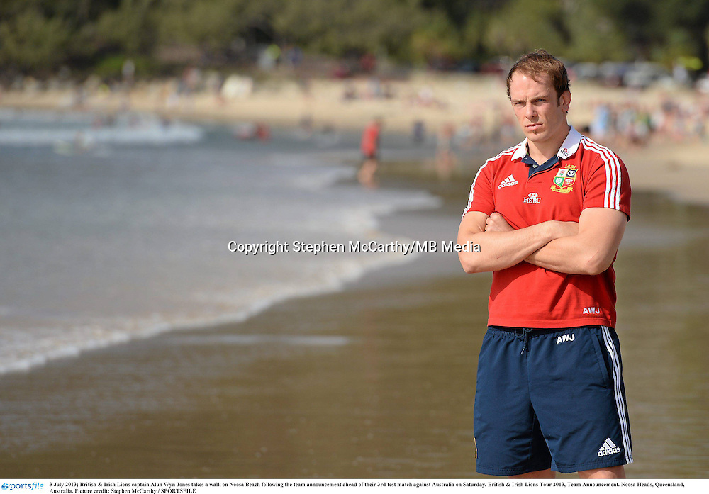 3 July 2013; British & Irish Lions captain Alun Wyn Jones takes a walk on Noosa Beach following the team announcement ahead of their 3rd test match against Australia on Saturday. British & Irish Lions Tour 2013, Team Announcement. Noosa Heads, Queensland, Australia. Picture credit: Stephen McCarthy / SPORTSFILE
