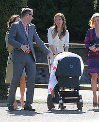Robbie Williams father Pete Conway wedding. Robbie Williams wife Anya Field pushing the buggie with their baby at Compton Bassett home of Robbie Williams, UK,  May 1, 2013. Photo by: Roger Allen / i-Images. UK ONLY